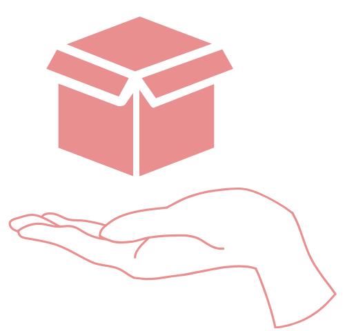 Współpraca barterowa - dłoń trzymająca pudełko